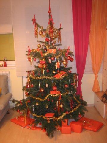 Weihnachtsbaum rot orange