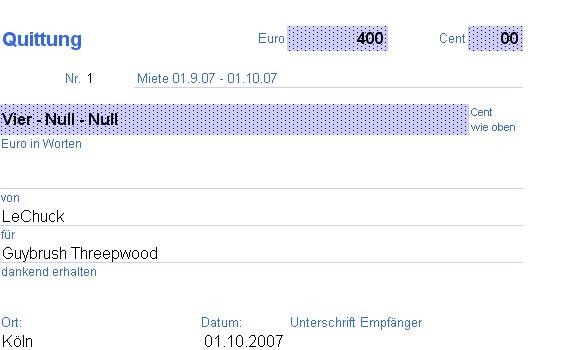 Wohnungsmiete bar bezahlen - Quittung - onlinekosten.de Forum