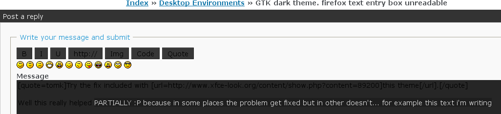 SOLVED] GTK dark theme  firefox text entry box unreadable