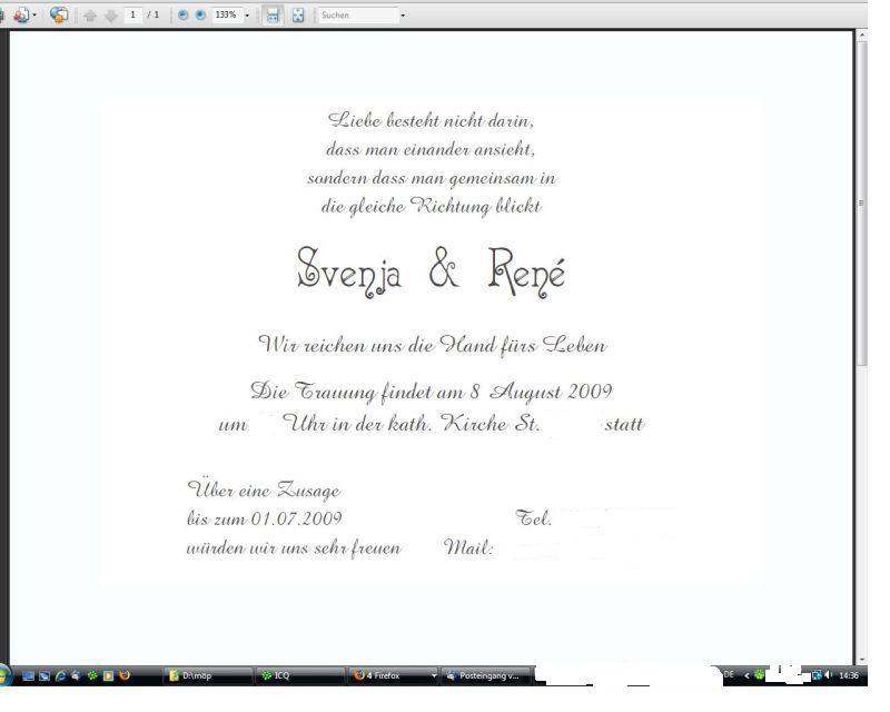 Einladung Umtrunk Hochzeit Vorlagen