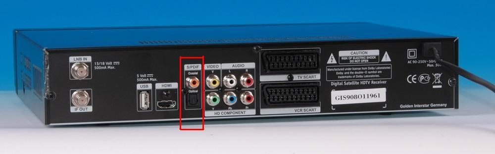 Digital Audioausgang Optisch