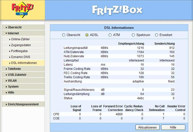 fritzbox 7170 falsche anzeige bei dsl information forum. Black Bedroom Furniture Sets. Home Design Ideas