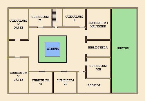 imperium romanum casa quintilia casa quintilia beschreibung und grundriss. Black Bedroom Furniture Sets. Home Design Ideas