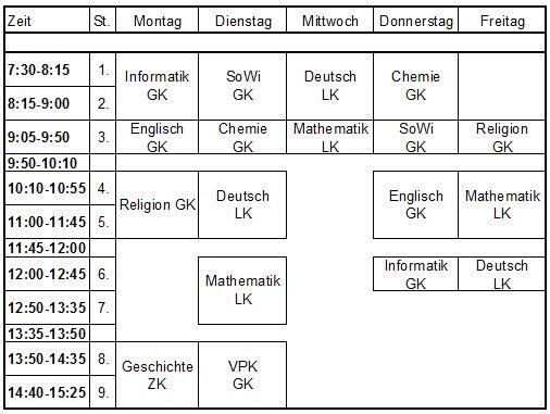 Hu Chemie Stundenplan