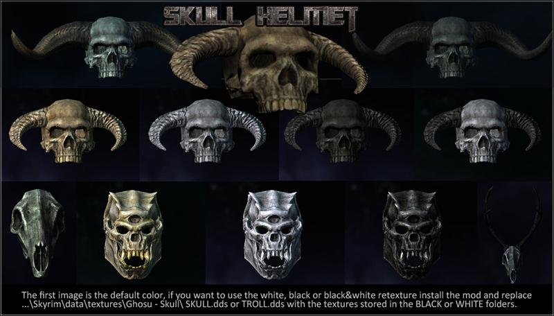 ghosu helmets bone shield and tribal staff at skyrim
