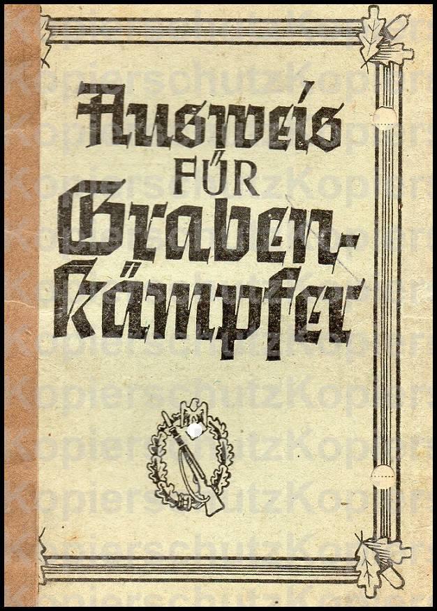 Grabenkämpfer-Ausweis - Wehrmacht-Awards.com Militaria Forums