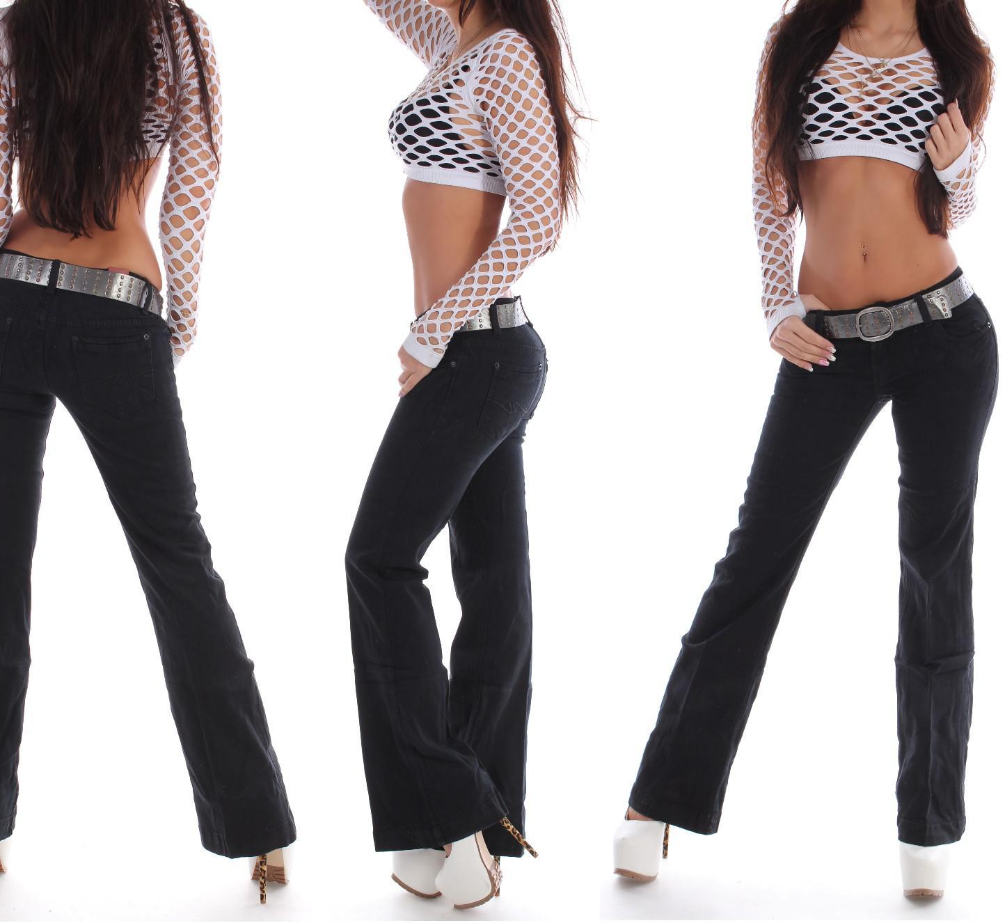 damen bootcut jeans schlag hose h ftjeans schwarz g rtel sexy damenjeans s55 ebay. Black Bedroom Furniture Sets. Home Design Ideas