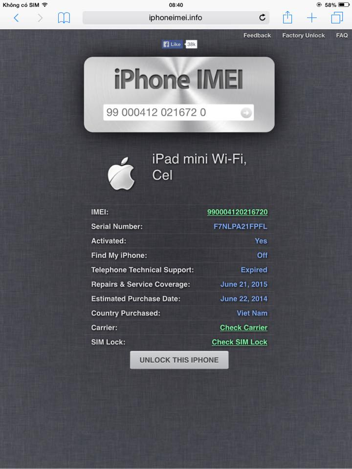 iPad mini 3G wifi likewnew - còn BH