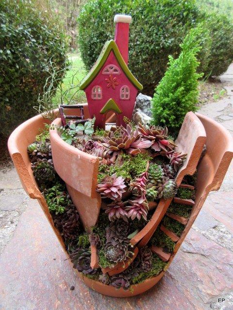 Kreativer Minigarten aus kaputtem Blumentopf - Mein ...